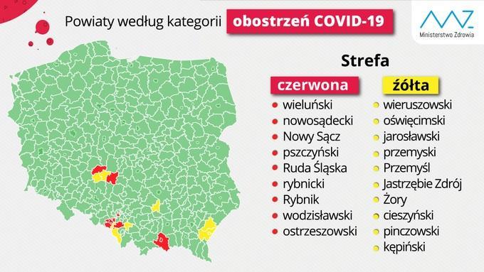 restrykcje dla czerwonych powiatow